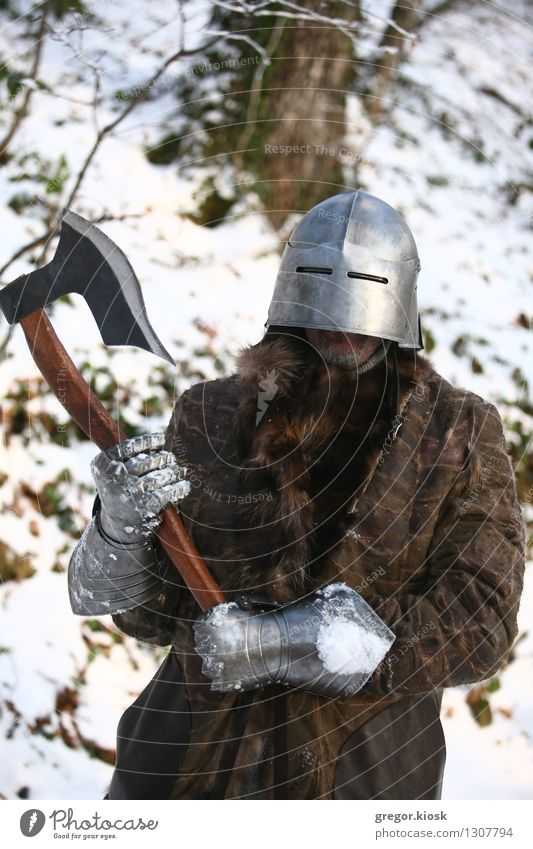 Medieval warrior Feasts & Celebrations Carnival Fairs & Carnivals Man Adults 1 Human being 30 - 45 years Warrior Winter Ice Frost Snow Tree Forest Mountain