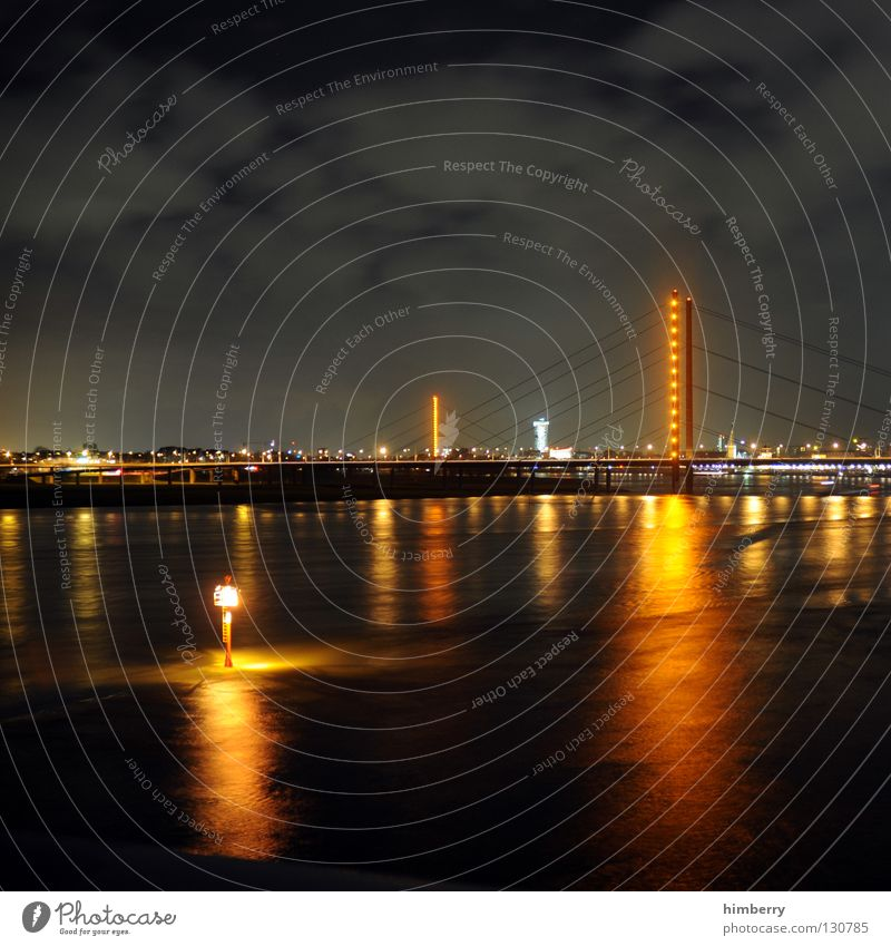exhilarating sale Town Lifestyle Night life Transmit Transmitting station Long exposure Exposure City life High-rise Column Bridge pier Modern Duesseldorf