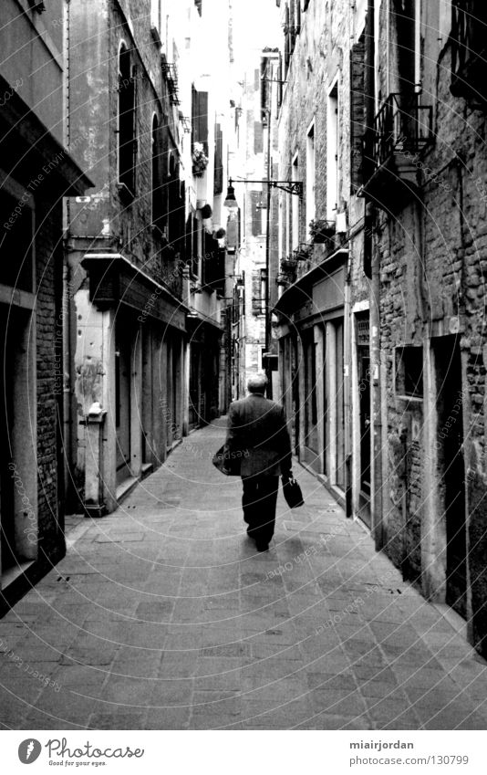 Human being Man City Street Italy Venice Black & white photo