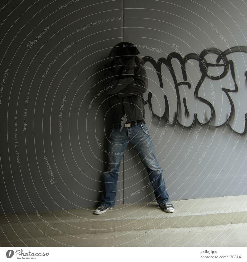 Human being Man Joy Loneliness Black Wall (building) Graffiti Gray Style Wall (barrier) Sadness Arm Lifestyle Jacket Pants Trashy