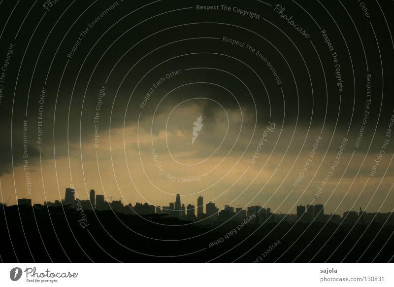 Sky City Clouds Dark Gray Rain Moody Wet High-rise Horizon Vantage point Threat Asia Skyline Capital city Singapore