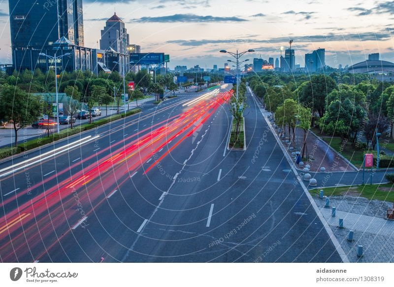 Street in the evening Jiangsu Town Downtown Deserted Building Architecture Transport Road traffic Motoring Car Movement Driving Vacation & Travel