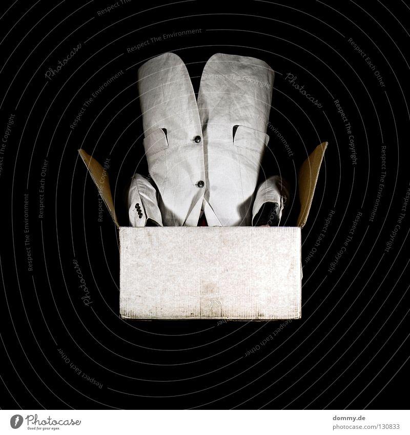 Man White Black Dark Arm Rope Paper Square Suit Loudspeaker Bag Cardboard Buttons Beige Fellow Torso