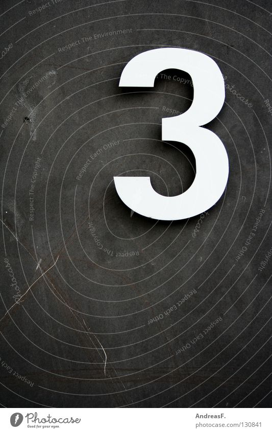 _3 Digits and numbers Mathematics Symbols and metaphors Concrete wall House number Numbers Calculation threefold Signs and labeling