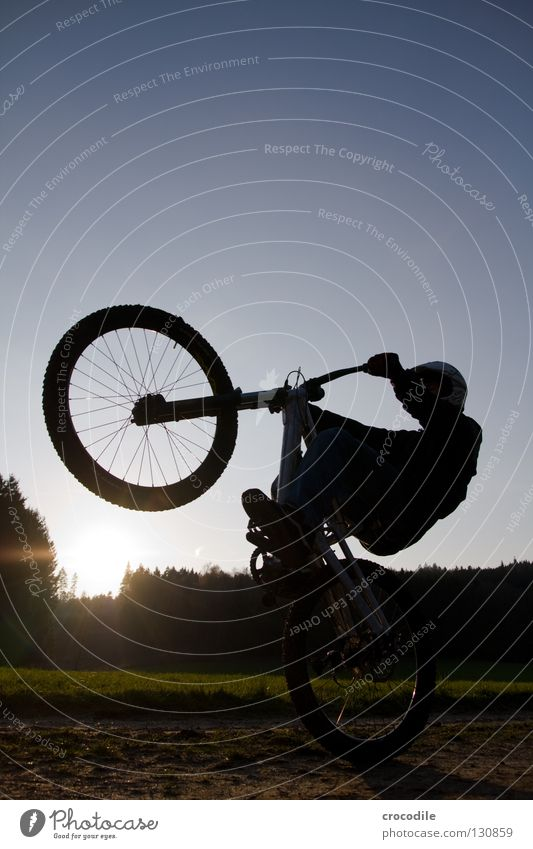 wheely Bicycle Mountain bike Driving Balance Motorcyclist Fork Helmet Dangerous Man Wheel Aluminium Footpath Meadow Field Sports Playing Extreme sports Funsport