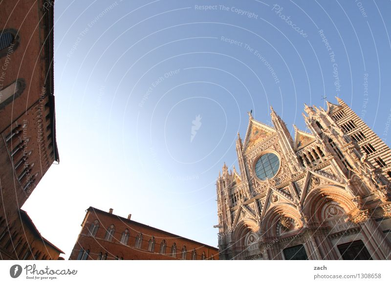 Siena Cloudless sky Italy Tuscany Small Town Downtown Old town House (Residential Structure) Religion and faith Church Dome Palace Places Tower