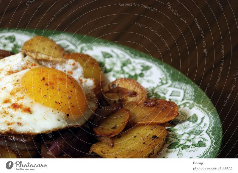 Nutrition Kitchen Gastronomy Appetite Plate Dinner Cutlery Fast food Salt Onion Pepper Potatoes Yolk Butter Fried egg sunny-side up Rosemary
