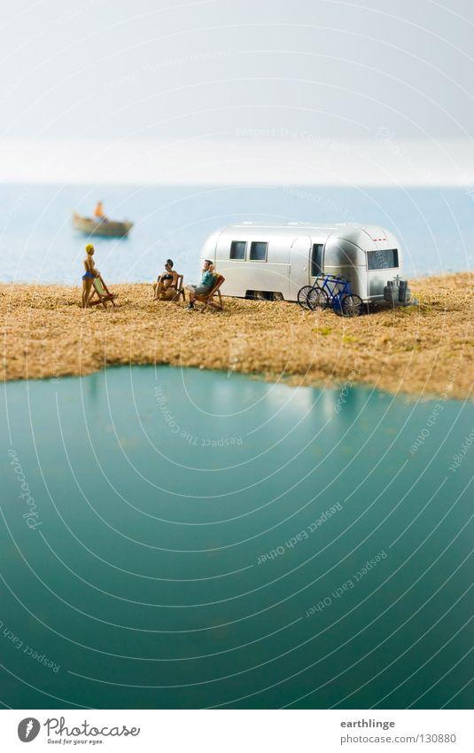Human being Blue Water Green Ocean Summer Far-off places Sand Small Horizon Watercraft Group Silver Blur Deckchair Digital photography