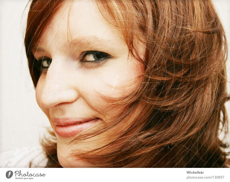 Woman Youth (Young adults) Beautiful Joy Face Eyes Playing Laughter Happy Hair and hairstyles Head Brown Wind Speed Electricity Idea