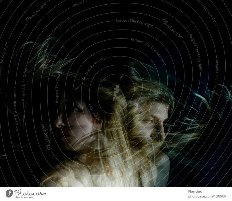 Woman Human being Dark Emotions Hair and hairstyles Movement Dream Dance Blonde Power Force Concentrate Frozen Brave Watchfulness Double exposure