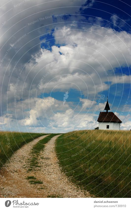 Sky Green Blue Summer Clouds Street Meadow Landscape Spring Lanes & trails Weather Religion and faith Brown Field Germany Horizon