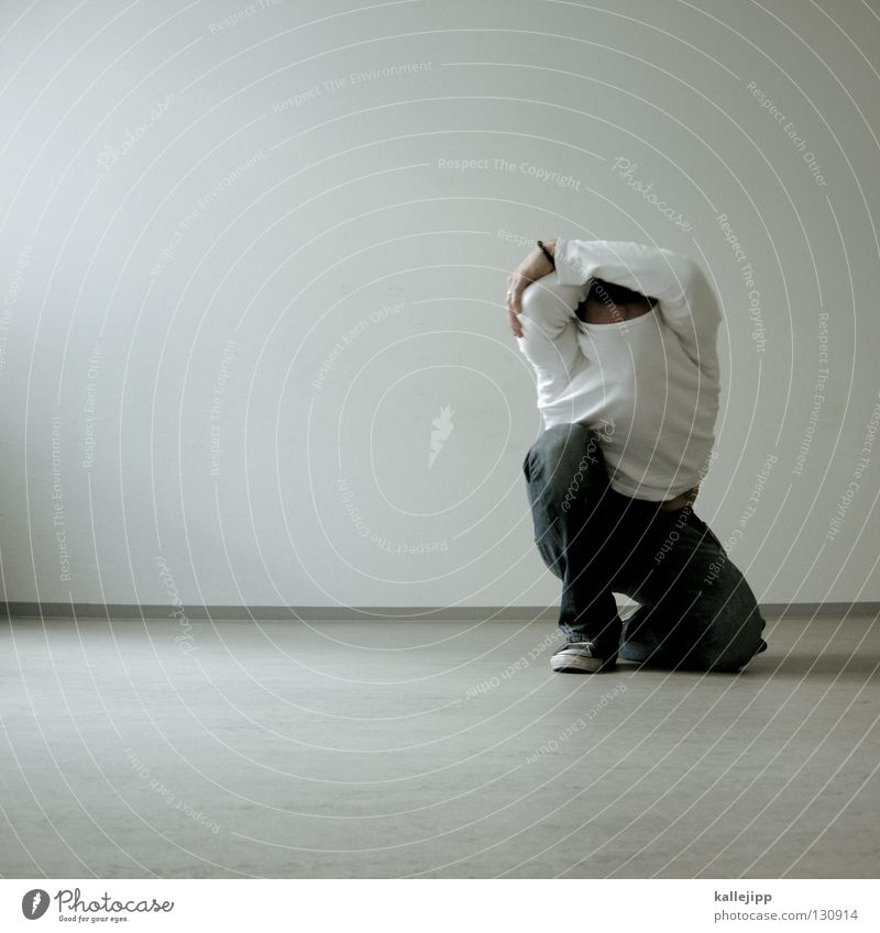 Human being Man White Loneliness Wall (building) Think Wall (barrier) Legs Work and employment Dance Lifestyle Floor covering Anger Gale Services Fatigue
