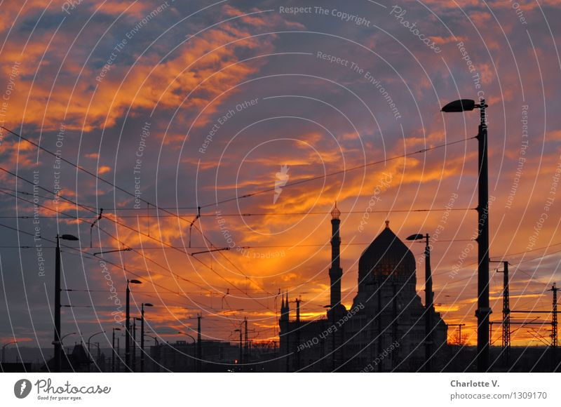yenidze Sky Clouds Sunrise Sunset Winter Beautiful weather Dresden Germany Europe Town Deserted Industrial plant Factory Manmade structures Building