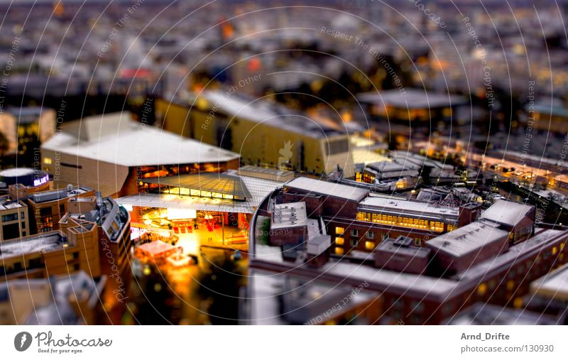 Mini-Berlin IV Town Clouds House (Residential Structure) Wet Roof High-rise Tilt-Shift Small Miniature Bird's-eye view Night Traffic infrastructure Modern Rain