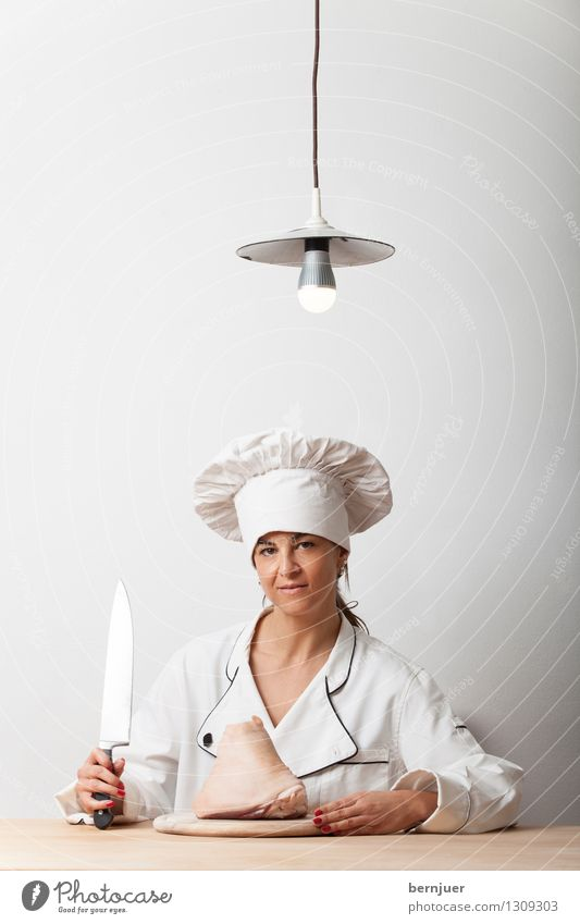 Human being Woman White Adults Feminine Exceptional Lamp Food Sit Wait Table Smiling Hat Meat Knives Electric bulb