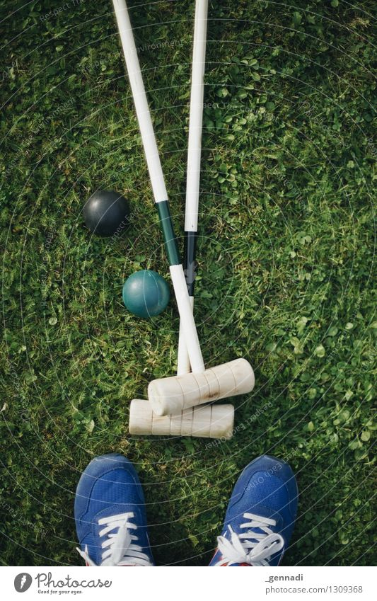 All Double Grass Meadow Blue Green Croquet Footwear Golf club Ball In pairs Colour photo Exterior shot Day Bird's-eye view Downward