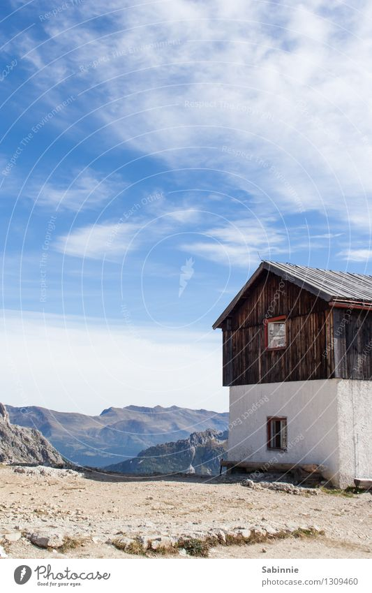 alpine lookout Environment Nature Sky Clouds Sun Beautiful weather Mountain Dolomites Sexten Dolomites Three peaks Village Deserted