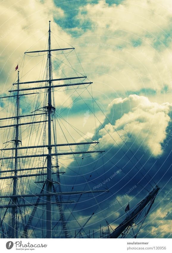 cloud striker Cross processing Green undertone Yellowness Watercraft Sailing ship Rickmer Rickmers Clouds Gale Dangerous Captain Windjammer White Fear Small