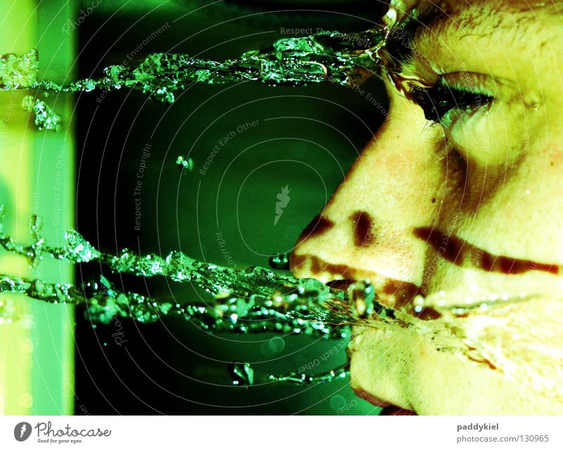 Man Water Green Face Drops of water Grief Bathroom Argument Distress Cry Tears Take a shower