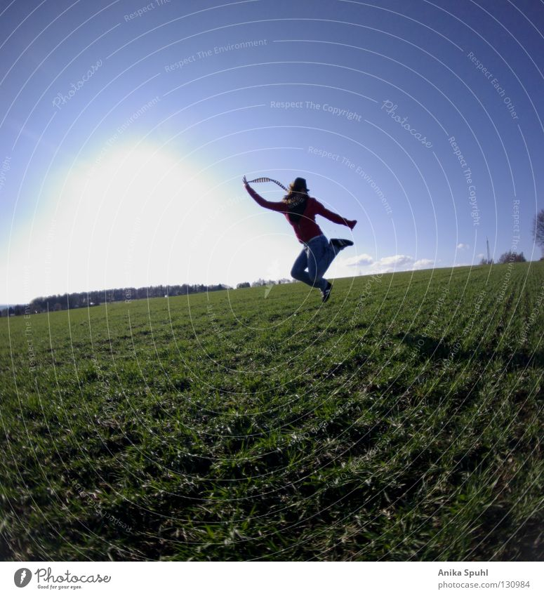 - jumping arround - Jump Joy Happiness Spring Green Sun Meadow Field Fresh Life Tasty Grass Hop Sky Freedom Blue Bright Happy Hat Shadow Silhouette around