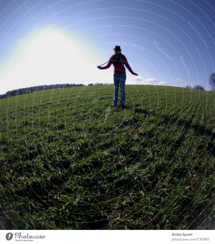 Sky Youth (Young adults) Blue Green Beautiful Sun Joy Life Meadow Jump Grass Style Spring Bright Field Happiness