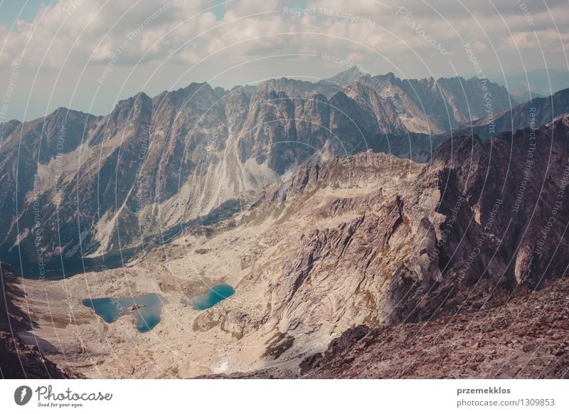 Mountain landscape in Tatras Nature Landscape Clouds Rock Adventure distant Height peak range Slope Wide Colour photo Exterior shot Deserted Day Wide angle