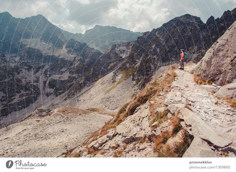 Boy hiking in the Tatra Mountains Human being Nature Vacation & Travel Youth (Young adults) Summer Landscape Young man Joy Freedom Lifestyle Rock Hiking