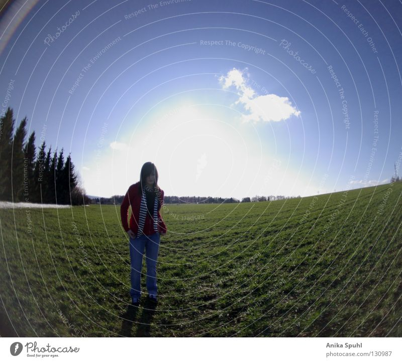 Sky Youth (Young adults) Blue Green Tree Red Sun Clouds Meadow Grass Spring Bright Field Clothing Posture Self-confident