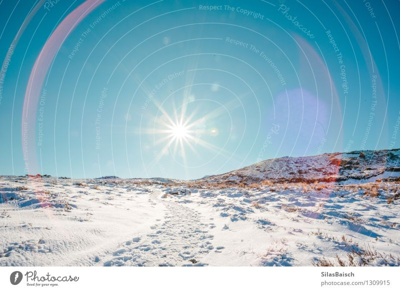 Sun Flare Nature Vacation & Travel Landscape Far-off places Winter Mountain Snow Freedom Rock Ice Tourism Hiking Walking Trip Beautiful weather