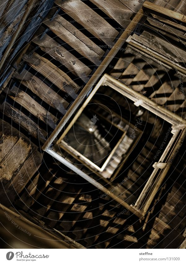 Architecture Wood Building Fear Stairs Tower Handrail Historic Square Sudden fall Deep Upward Spiral Effort Snail Downward