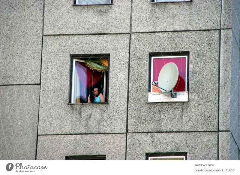 Woman City Life Window Concrete Gloomy Boredom Hopelessness