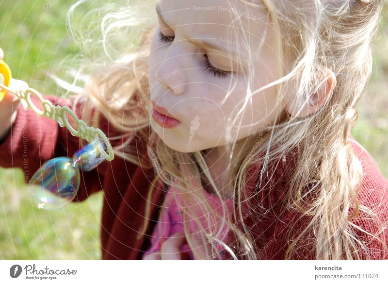 soap bubbles Soap bubble Dream Longing Girl Dreamily Beautiful Enchanting Snapshot Playing Watchfulness Child Blonde Long-haired Leisure and hobbies