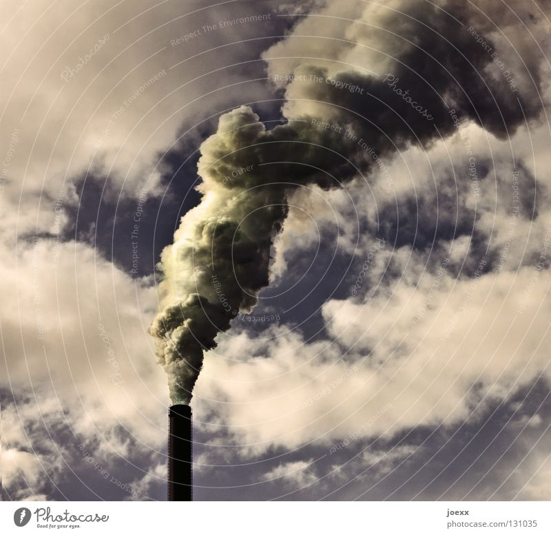Sky Nature Green Environment Yellow Moody Tall Climate Industry Industrial Photography Many Smoke Factory Environmental protection Pipe Fat