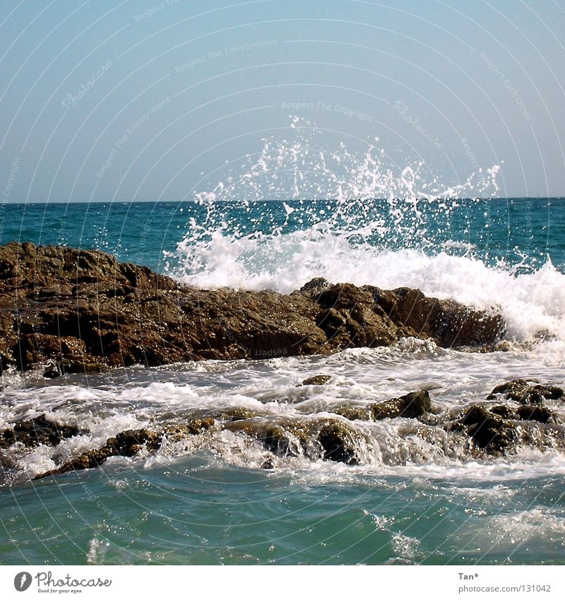 wash of the waves Waves Salty Movement Life Agitated Resist Transform Blue Deep Far-off places Europe South Spain Catalonia Costa Brava Coast Vacation & Travel