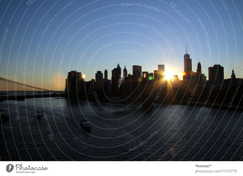 skyline at sunset Vacation & Travel Sightseeing City trip Cloudless sky Sunrise Sunset Sunlight Summer Beautiful weather New York City Port City Skyline