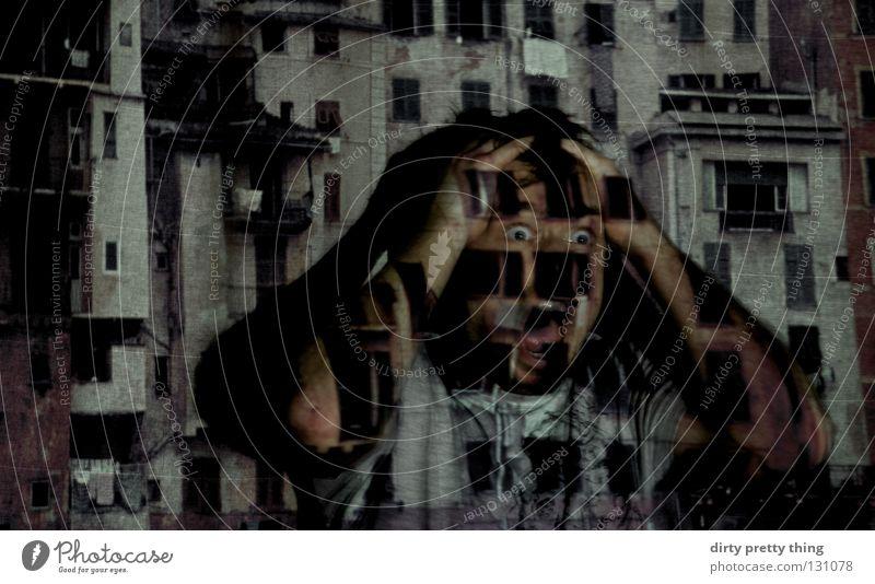 City Window Anger Scream Hide Aggravation Loud Horror Slide Projector Perpetrator