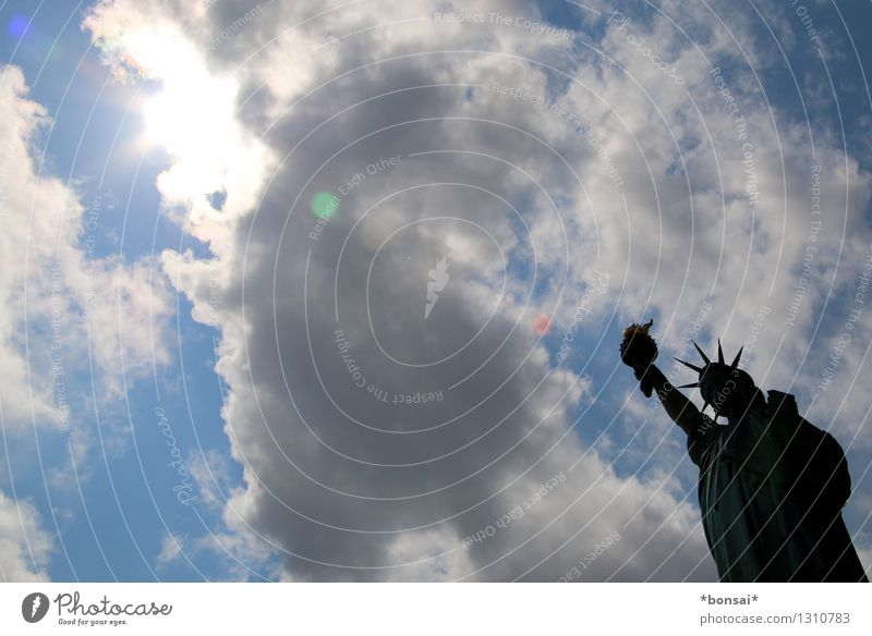 hands up Vacation & Travel Tourism Sightseeing City trip Statue Clouds Sun Summer Beautiful weather New York City USA Port City Manmade structures Architecture