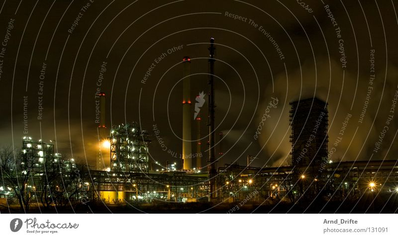 Ruhrpott at night Electricity Light Smoke The Ruhr Technology Environment Environmental pollution Fuel Diesel Factory Completed Gas Generator Commerce Poison
