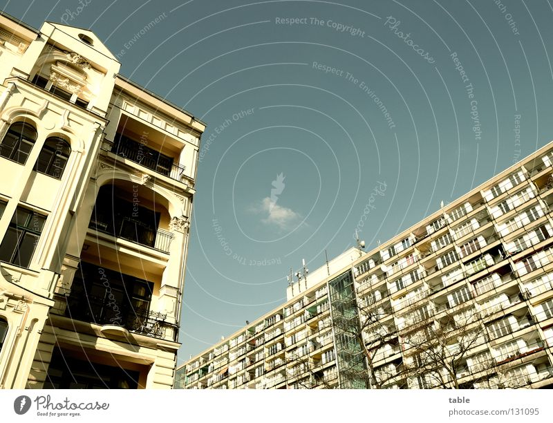 Sky Blue House (Residential Structure) Window Life Berlin Facade Living or residing Hope Balcony Prefab construction Rent Antenna Tenant Old building Migration