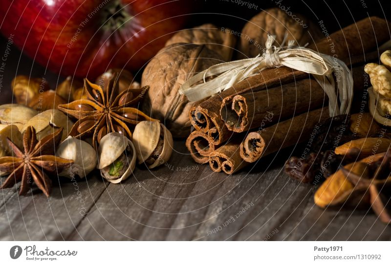 Christmas spices Herbs and spices Star aniseed Cinnamon Walnut Pistachio Apple Christmas & Advent Anticipation Fragrance To enjoy Spicy Delicious Still Life