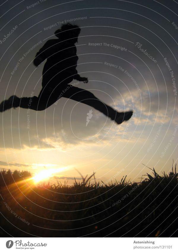 Human being Sky Man Sun Clouds Meadow Dark Playing Jump Legs Lamp Feet Lighting Arm