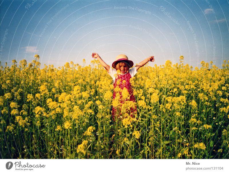 Statue of Liberty girl Child Toddler Blonde Straw hat Nursery school child Canola Yellow Canola field Dress Summer Sun Summer dress Jumper Pattern Outstretched