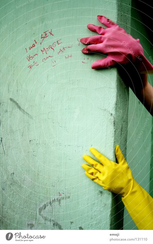 gloves Gloves Rubber Pink Yellow Gaudy Intoxicant Turquoise Wall (building) Hand Describe Dirty Cleaning Noble Whimsical Strange Carnival Obscure Fingers Threat