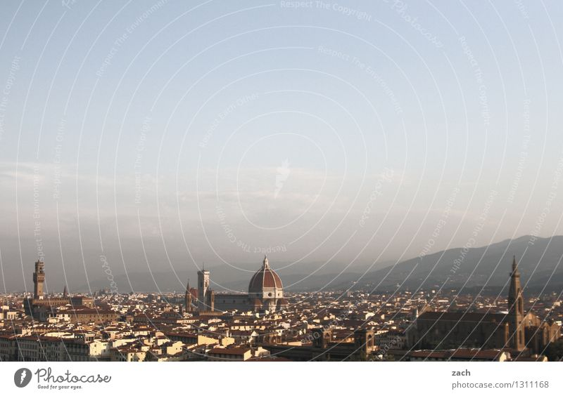 Overview of the Sky Beautiful weather Hill Mountain Florence Italy Tuscany Town Downtown Old town Skyline House (Residential Structure) Church Dome Palace