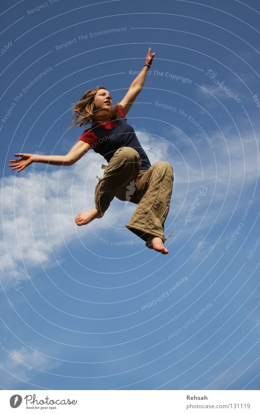 Woman Sky Blue Red Joy Clouds Far-off places Life Freedom Jump Power Flying Tall Aviation Joie de vivre (Vitality)