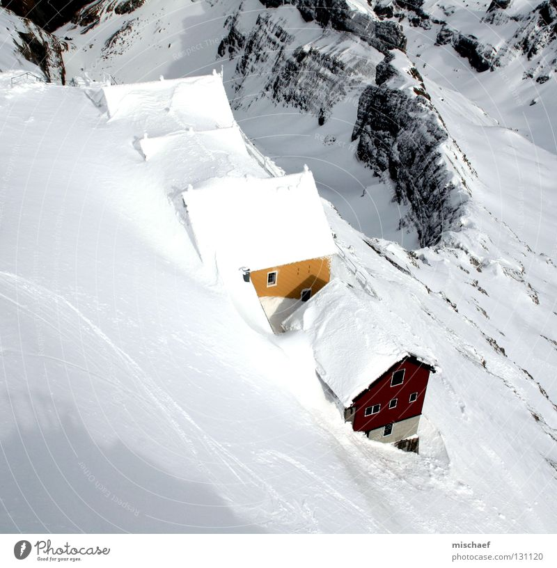 When's summer coming? Mount Säntis Switzerland White House (Residential Structure) Red Yellow Roof Snow Wooden hut Alpine hut Wooden house Cliff Slope Peak Calm