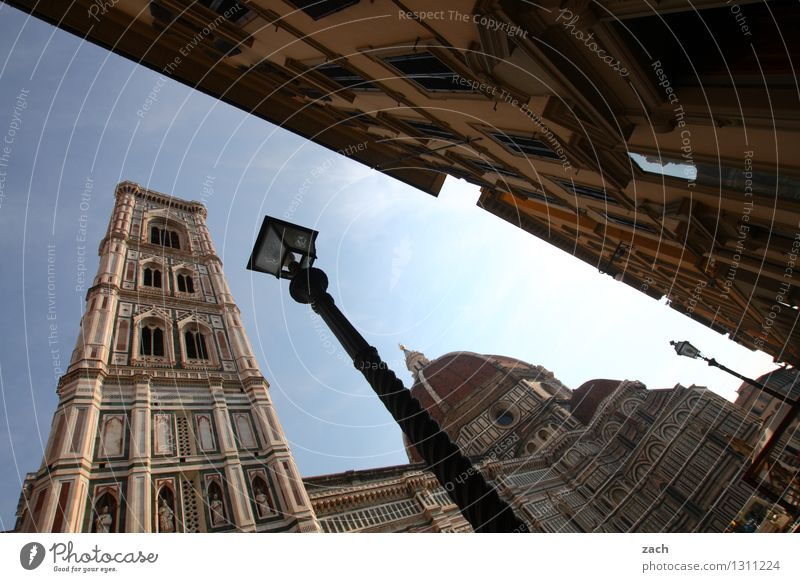 Florence with lamp Italy Tuscany Town Downtown Old town Deserted House (Residential Structure) Church Dome Palace Places Tower Manmade structures Architecture