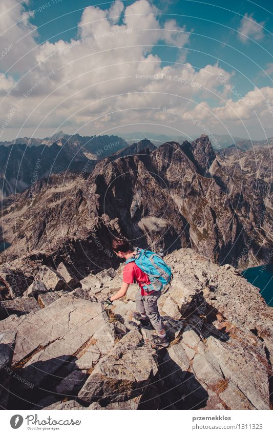 Hike in the Tatra Mountains Human being Nature Vacation & Travel Youth (Young adults) Summer Young man Joy Freedom Lifestyle Rock Leisure and hobbies Power