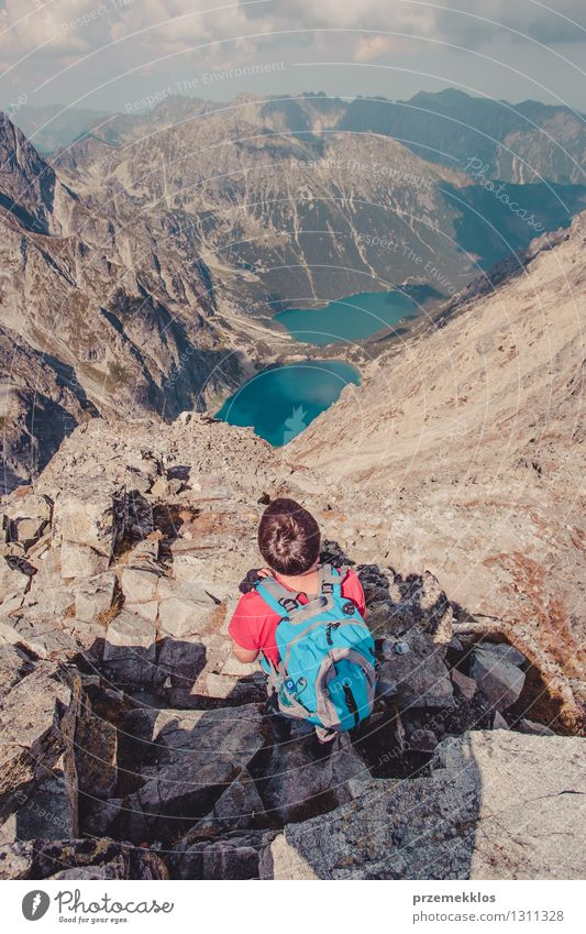 Hike in the Tatra Mountains Human being Nature Vacation & Travel Youth (Young adults) Summer Young man Landscape Joy Freedom Lifestyle Rock Leisure and hobbies