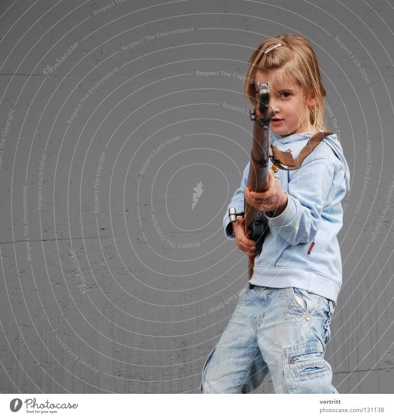 unerring Child Girl Rifle Firearm War Antagonism Playing Authentic Combat Aim Shoot Accident Decadence Thief Subsoil Guerilla Politics and state Fear Panic
